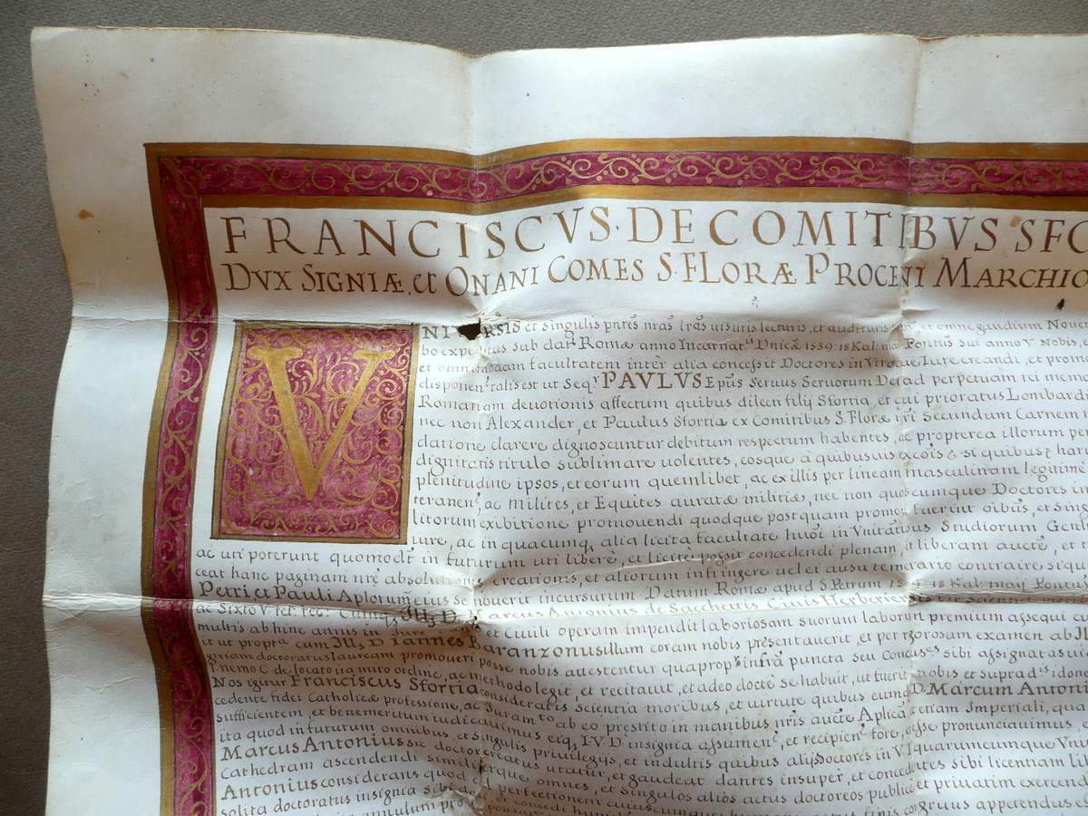 Autografi: Pergamena Autografo Francesco Sforza Laurea ...